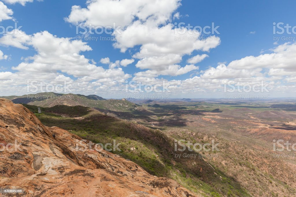 Lands of Paraiba State from top of 'Pedra do Tendo', Teixeira, Paraiba, Brazil stock photo