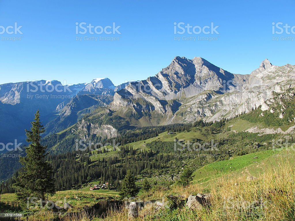 Landscape above Braunwald stock photo