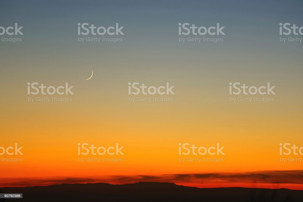 landscape abstract sunset sky and sickle moon royalty-free stock photo