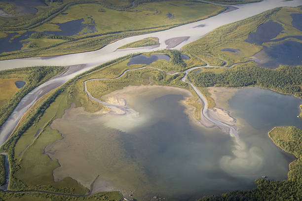 Landscape aerial photo from Skierfe top Sarek national park Sweden​​​ foto