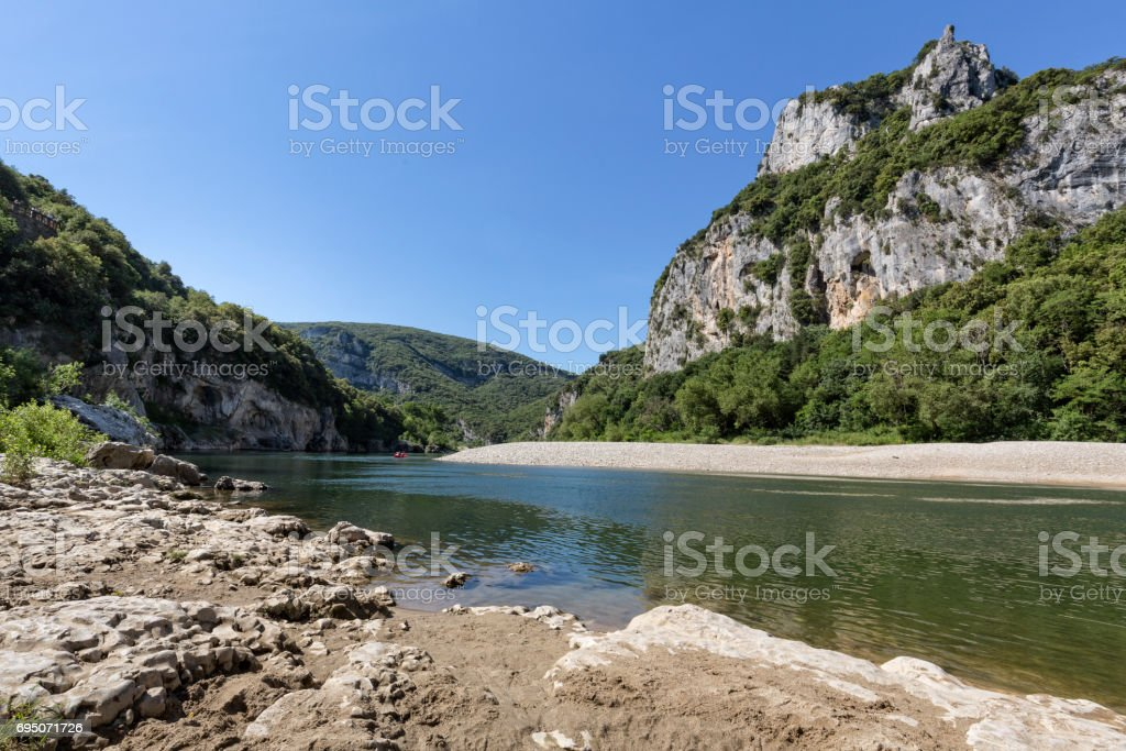 Landscape alon the river Ardeche in South France stock photo