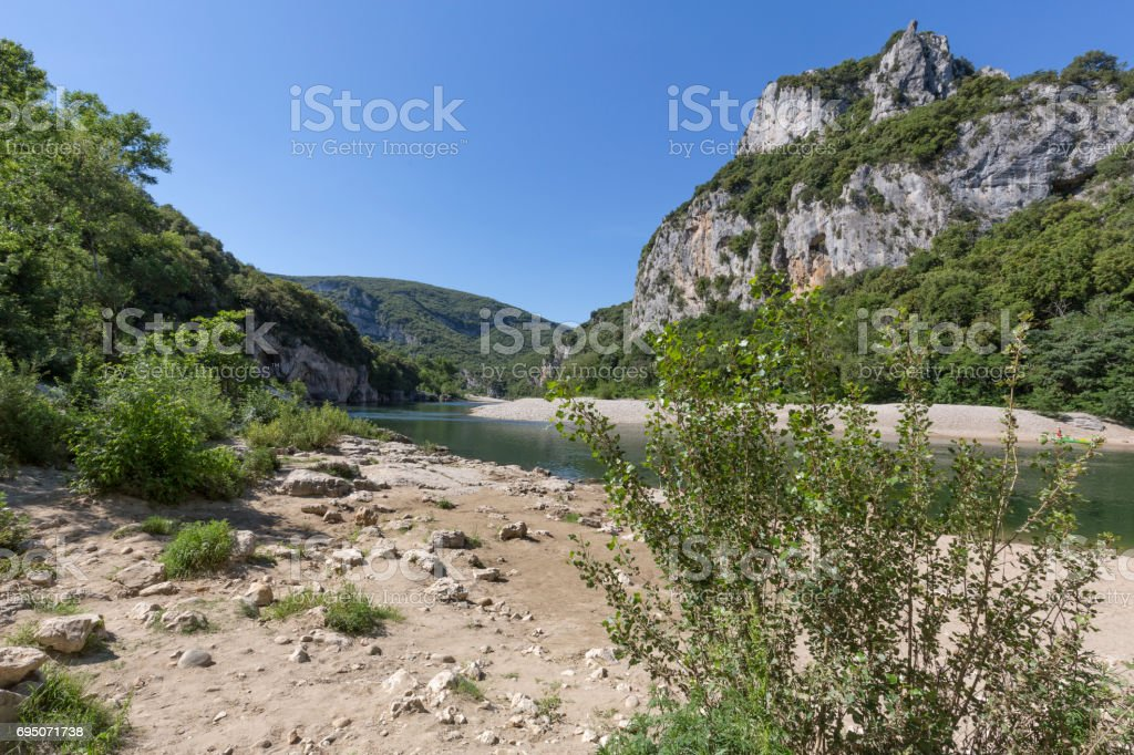Landscape alon the river Ardeche in South France stock photo