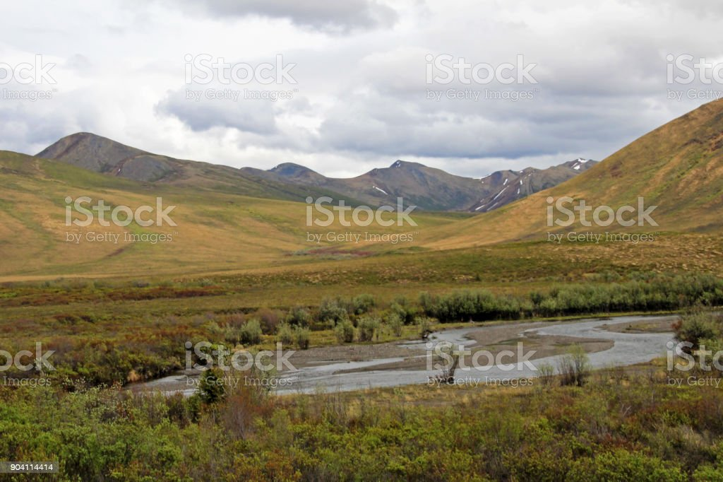 Landscape along Dempster Highway near Tombstone Territorial Park, Canada stock photo