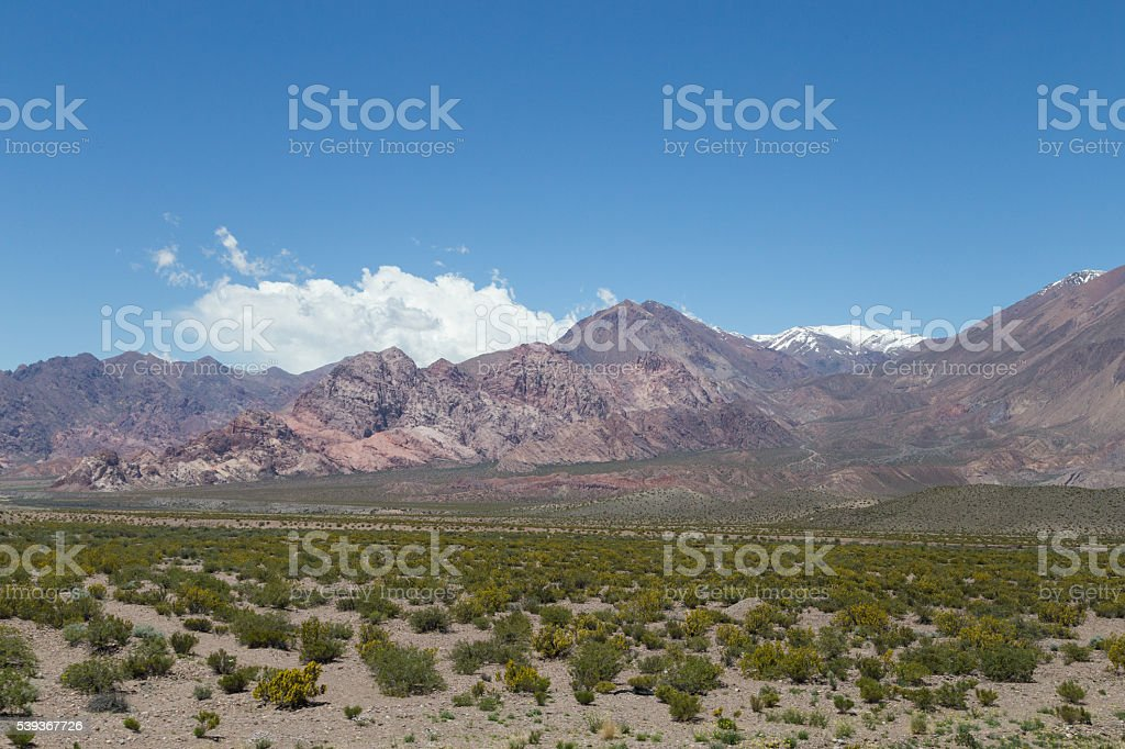 Landscape along National Route 7 in Argentina stock photo