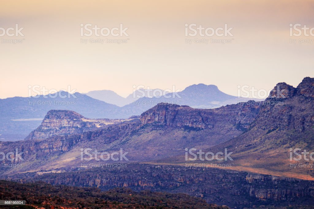 Landscape along the Pakhuis Pass in the Western Cape Province,South Africa stock photo