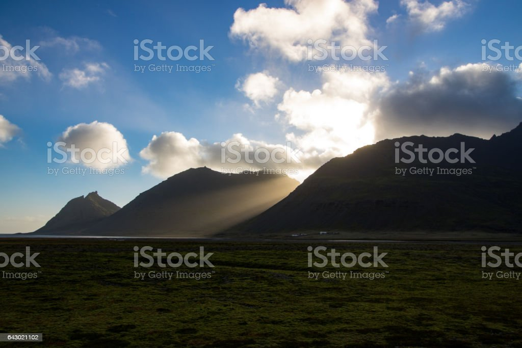Landscape along the ring road, Iceland stock photo