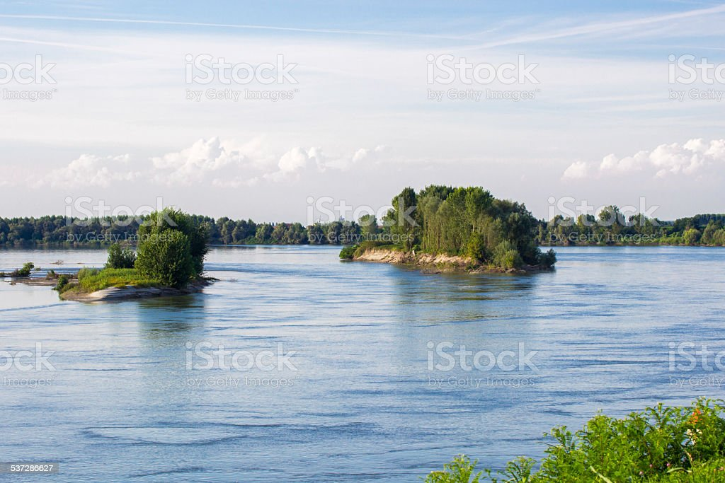 Landscape along the river Po stock photo