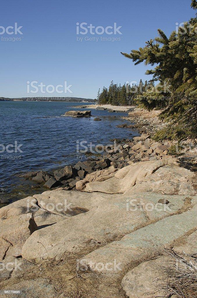Paesaggio lungo la costa occidentale di punto Schoodic foto stock royalty-free