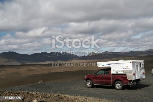 Iceland - July 28. 2008: Isolated 4 wheel camper van in the middle of nowhere