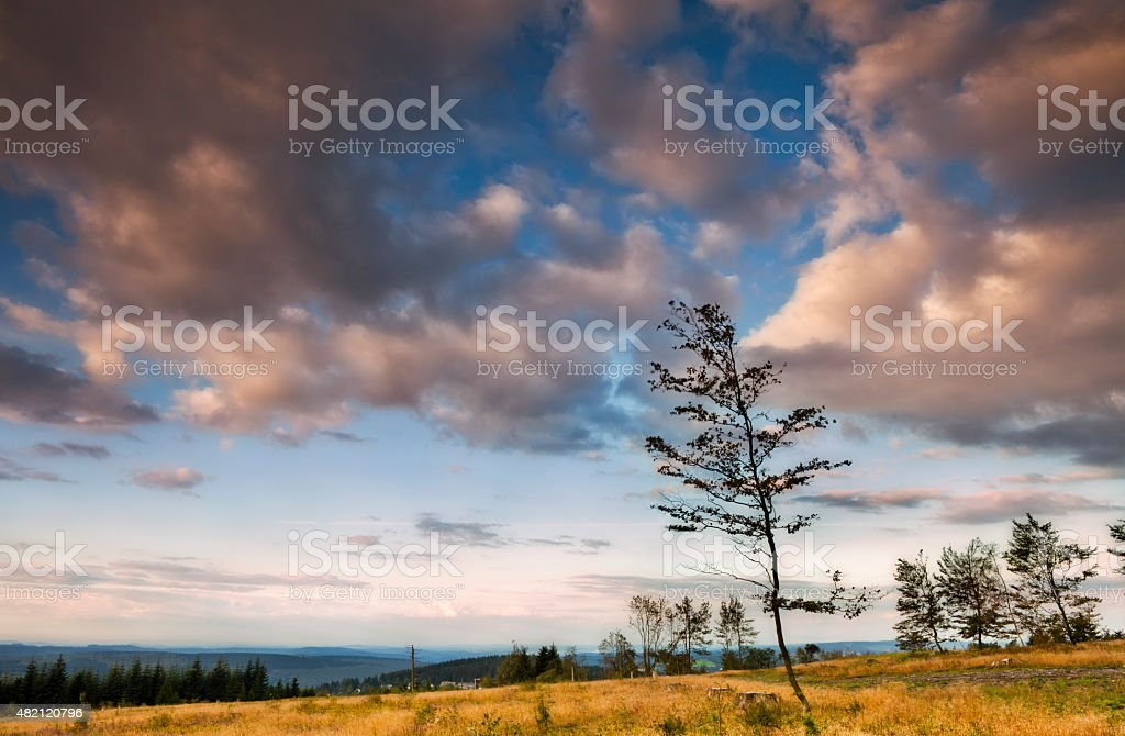 Landscape and cloudscape from Kahler Asten, mountains, hills, Sauerland, Germany stock photo
