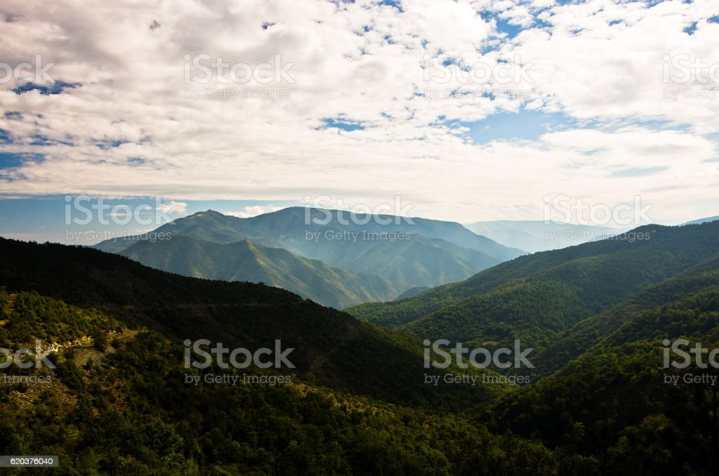 Landscape and cloudscape of Troglav mountain at late summer zbiór zdjęć royalty-free