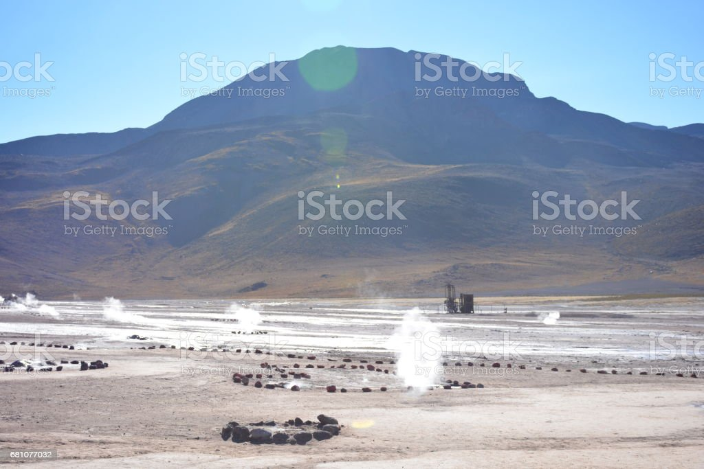 landscape and geysers at Atacama desert in Chile royalty-free stock photo