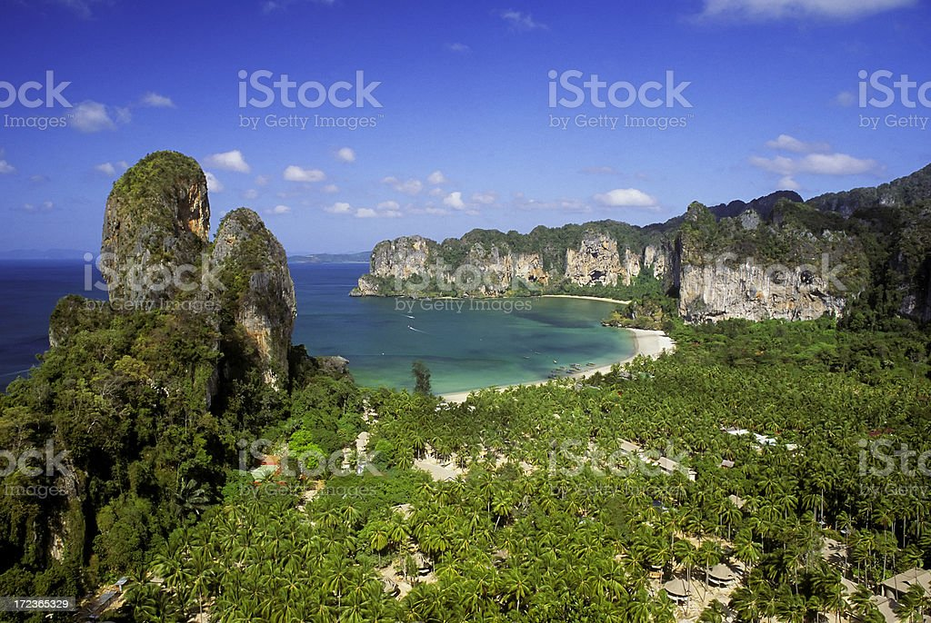 Landscape and ocean view of Railay Beach in Krabi Thailand stock photo