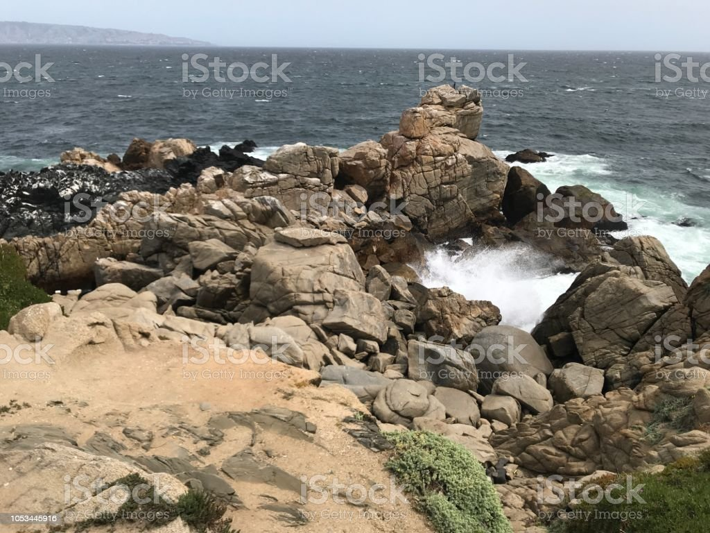 Landscape and rocky beach stock photo