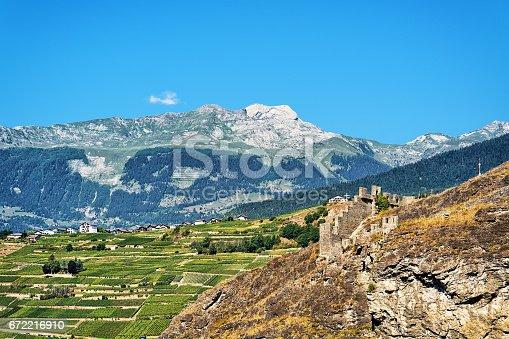 istock Landscape and Stone Ruins of Tourbillon castle Sion Valais Switzerland 672216910