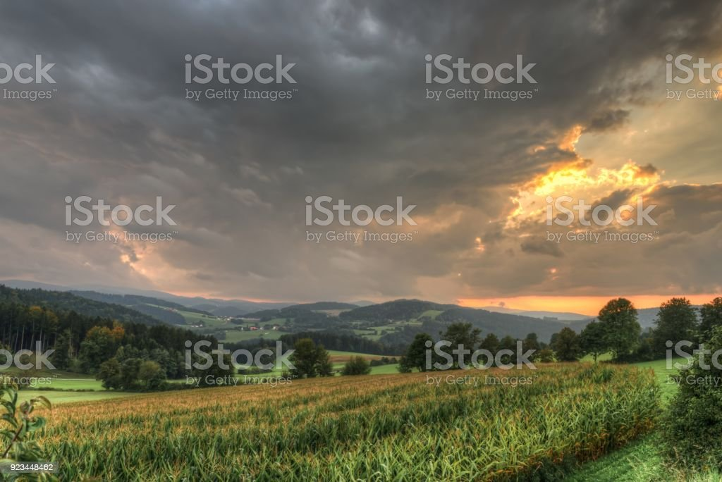 Landscape and sunset near Grafenau, Bavarian Forest, Germany stock photo