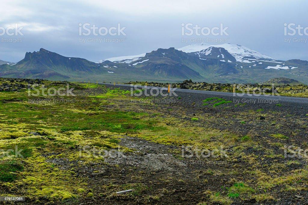 Landscape and the Snaefellsjokull volcano stock photo
