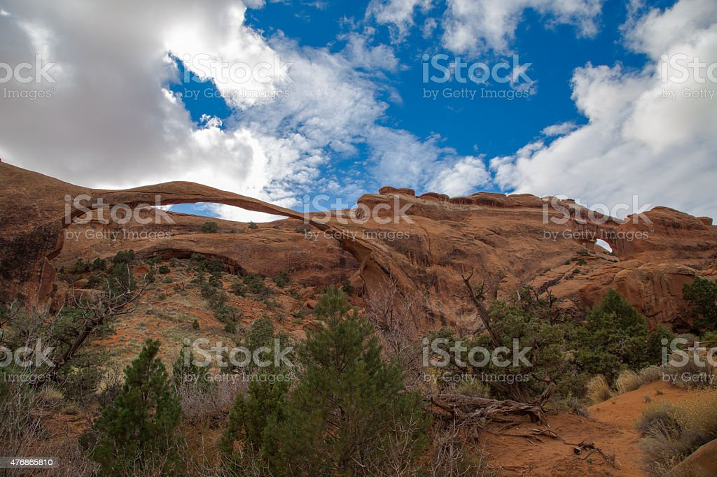 Landscape Arch and Partitions Arch at Arches National Park stock photo