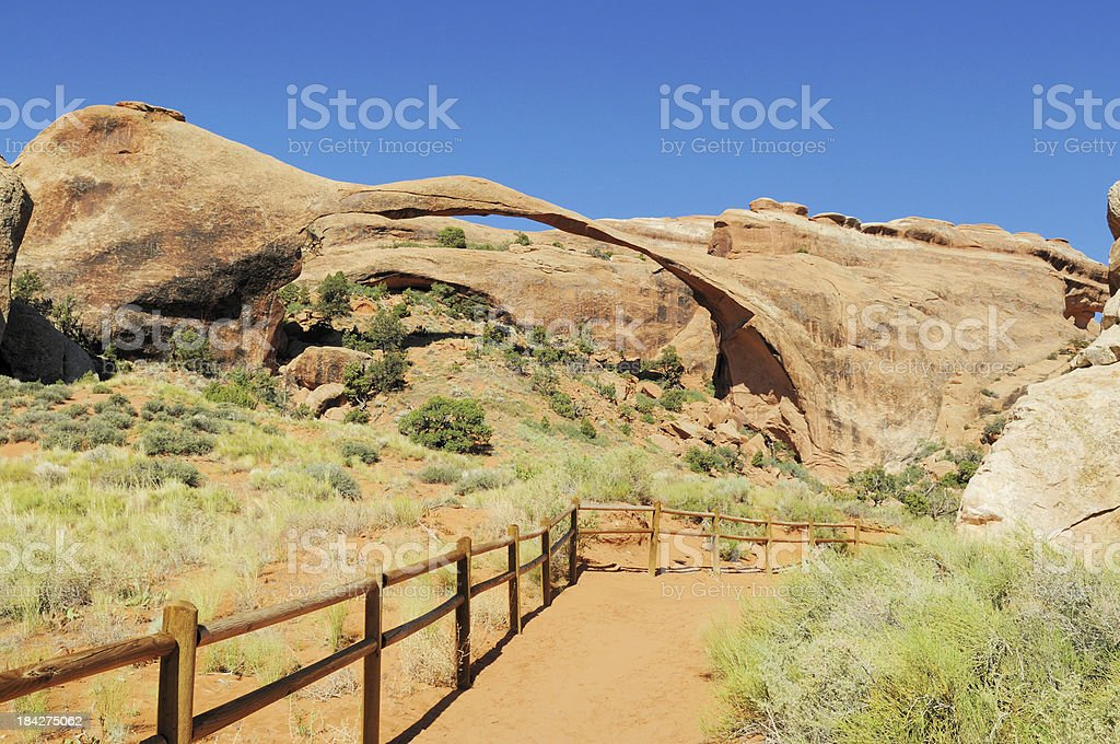 Landscape Arch Rock Formation in Arches National Park Moab Utah stock photo