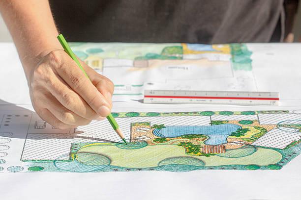 landschaftsarchitekt design backyard plan für villa - vorgarten landschaftsbau stock-fotos und bilder