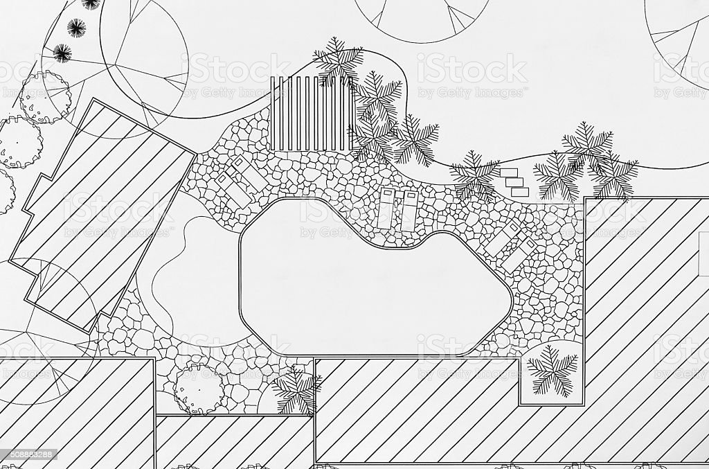 Landscape architect design backyard plan for villa stock photo