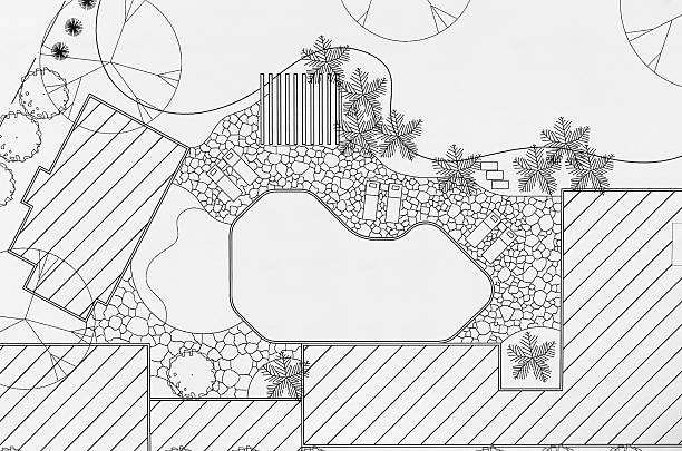 Royalty free landscape design blueprint pictures images and stock landscape architect design backyard plan for villa stock photo malvernweather Choice Image