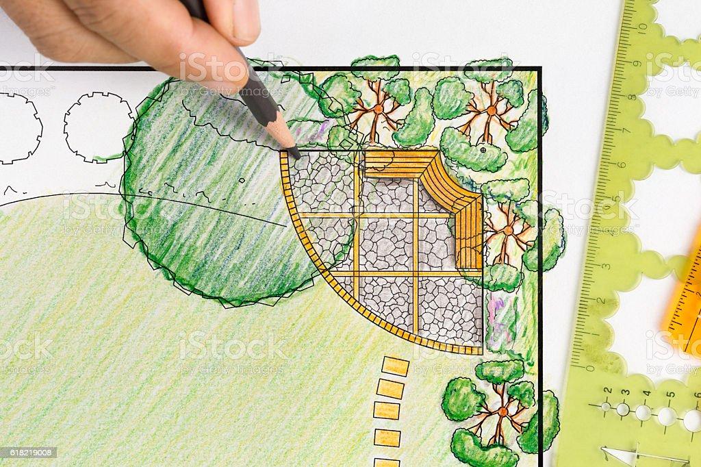 Landschaftsarchitekt design backyard plan für villa – Foto