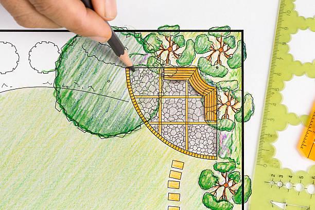 Landscape architect design backyard plan for villa Landscape architect design backyard plan for villa design occupation stock pictures, royalty-free photos & images