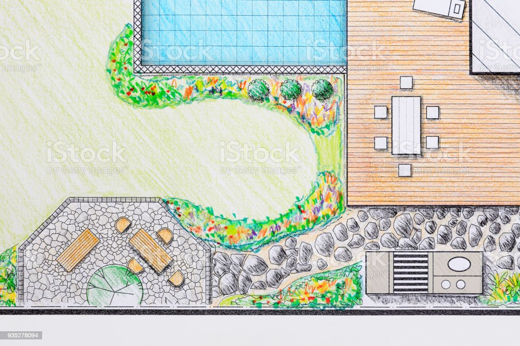 Landscape Architect Design Patio Backyard Plan For Villa Stock Photo Download Image Now Istock