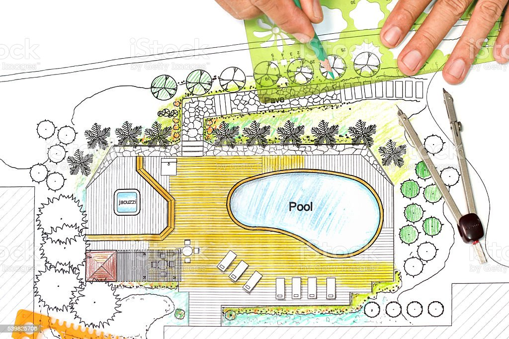 Landschaftsarchitekt Design Hinterhof Plan Mit Pool ...