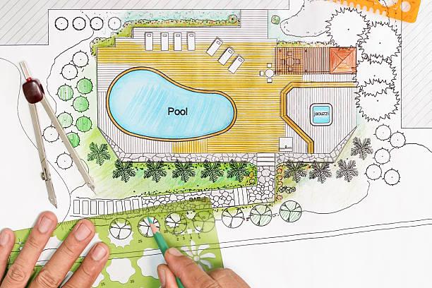 landschaftsarchitekt design hinterhof plan mit schwimmbad - vorgarten landschaftsbau stock-fotos und bilder