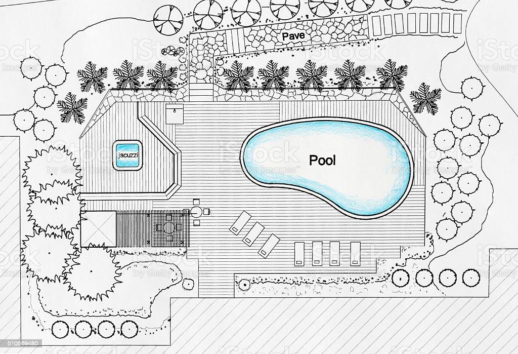 Landscape architect designs pool for luxury villa stock photo more blueprint construction industry construction site document hotel malvernweather Choice Image