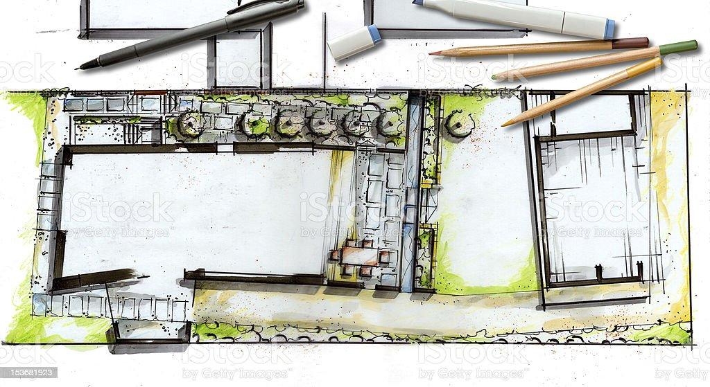 Landscape Architecture Blueprint royalty-free stock photo