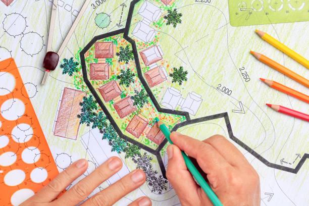 Landscape architecture design garden plan for housing development stock photo