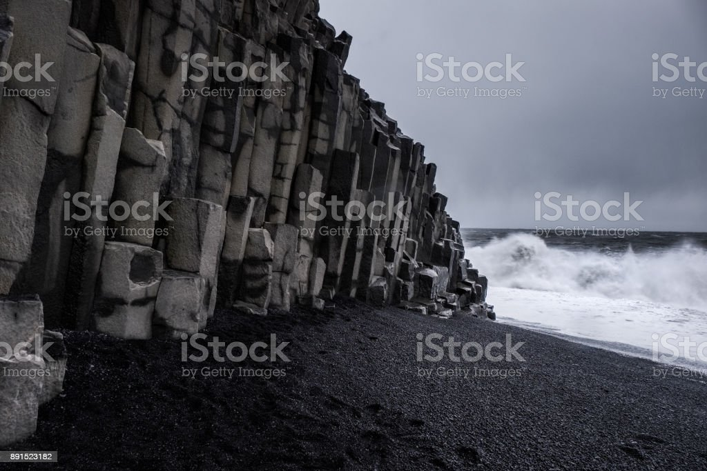 Landscape around black sand beach in Vik, Iceland stock photo