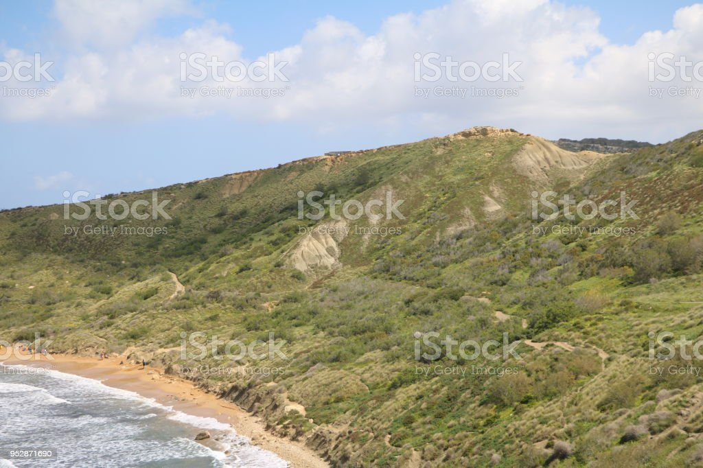 Landscape around Ghajn Tuffieha Bay at the Mediterranean Sea in Malta stock photo