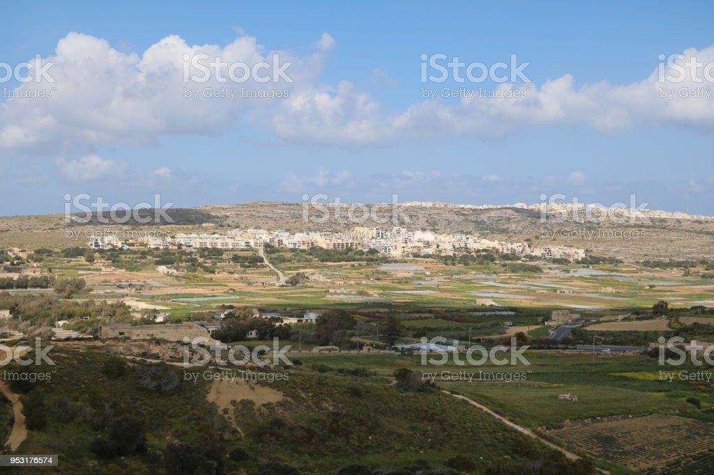 Landscape around Golden Bay and Ghajn Tuffieha Bay, Mediterranean Sea Malta stock photo