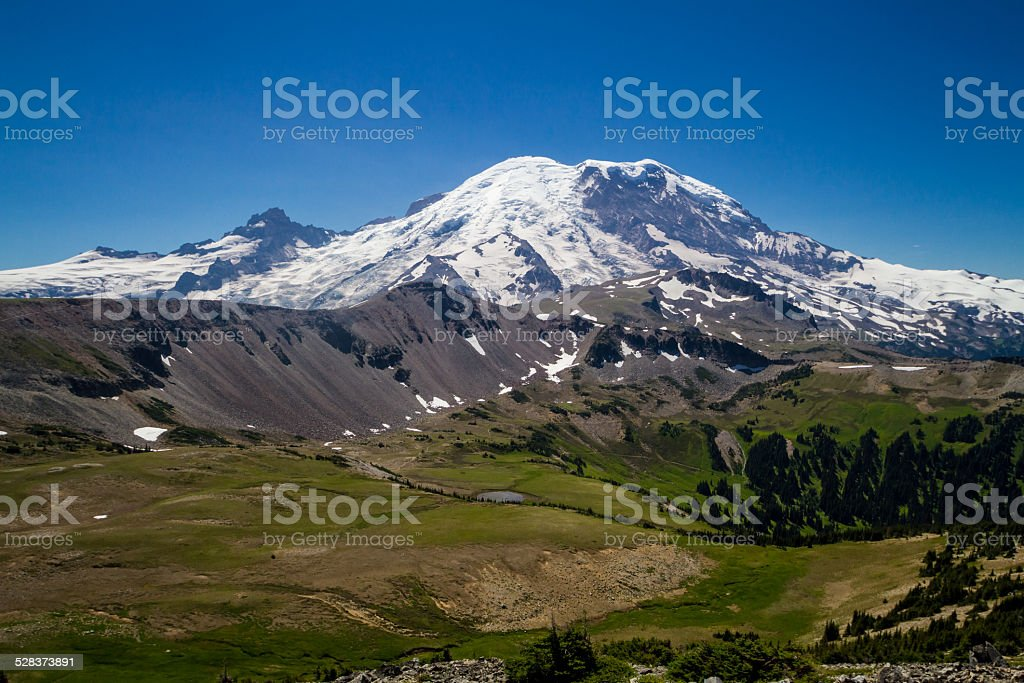 Landscape around Mt. Rainier, Washington stock photo