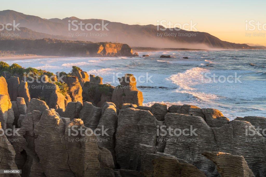 Landscape around Punakaiki Pancake Rocks and Blowholes, New Zealand stock photo