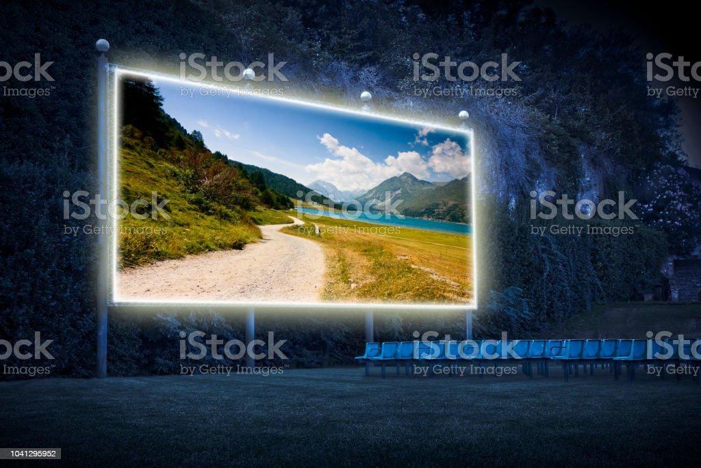 Landscape around Sils Lake on upper Engadine Valley - Outdoor cinema...