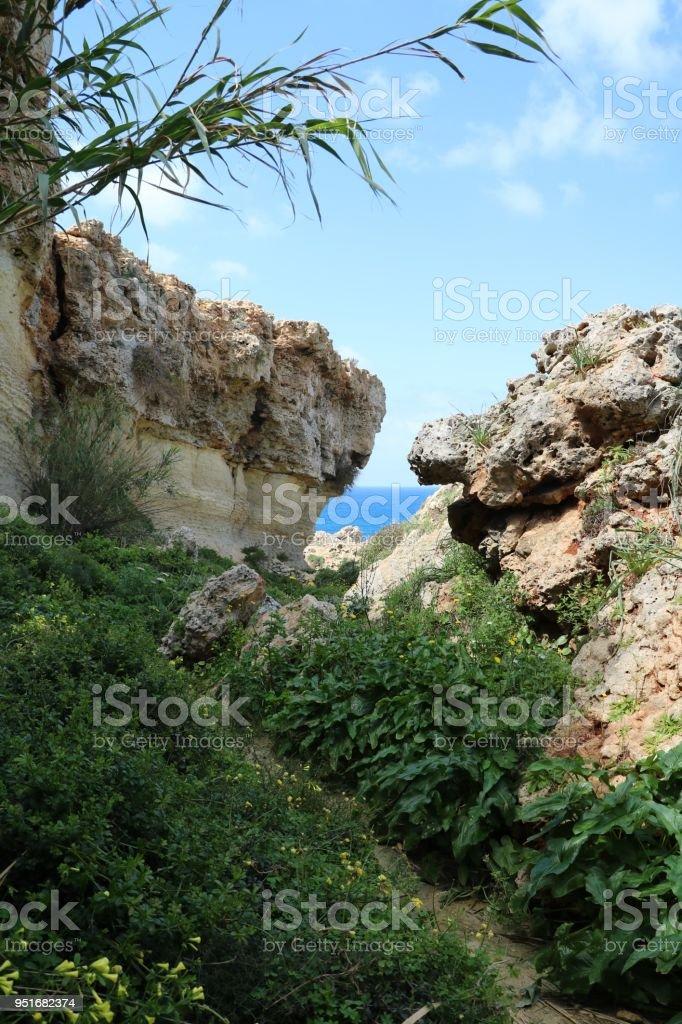 Landscape around the Gnejna Bay at the Mediterranean Sea in Malta stock photo