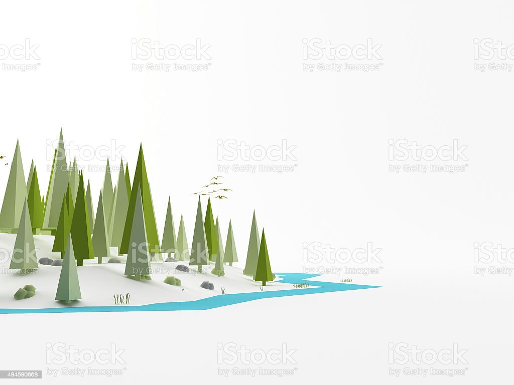 Landscape as low poly stock photo