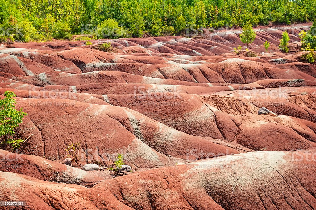 Landscape at Cheltenham Badlands Ontario Canada stock photo