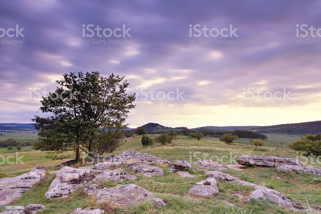 Landscape at dawn stock photo