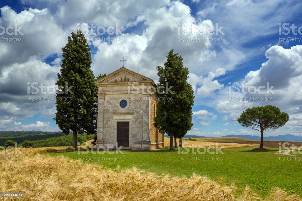 Landscape at in Tuscany with the Capella di Vitaleta stock photo
