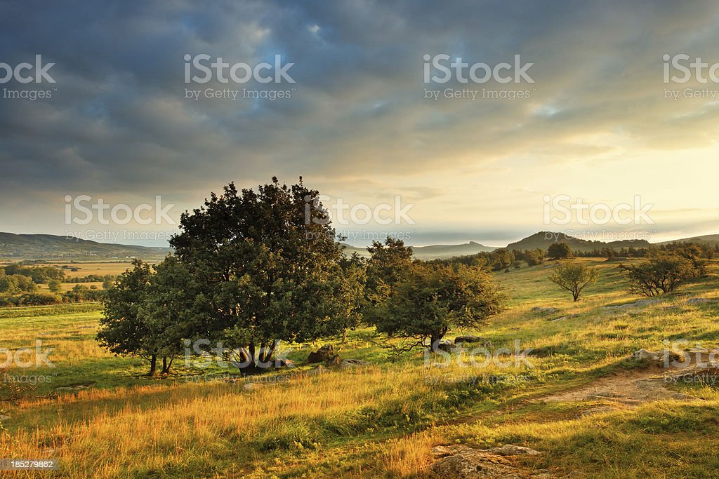Landscape at sunrise stock photo