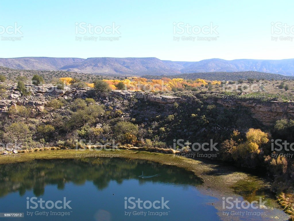 Landscape at the Montezuma Well stock photo