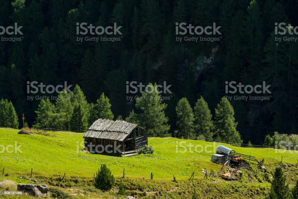 Landscape at the Timmelsjoch road between Austria and Italy stock photo