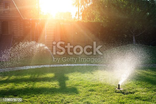 Landscape automatic garden watering system with different sprinklers installed under turf. Landscape design with lawn hills and fruit garden irrigated with smart autonomous sprayers at sunset time.