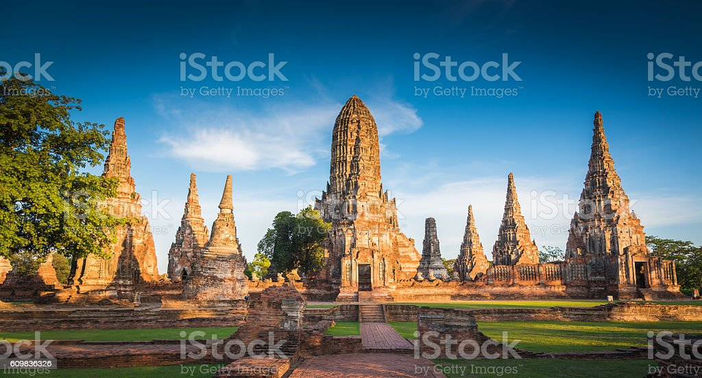 Landscape Ayutthaya Historical Park in Ayutthaya stock photo